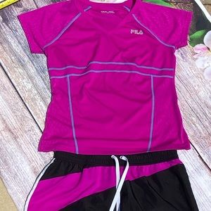 FILA Pink Workout Outfit - Top & Matching Shorts